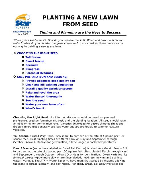 Planting A New Lawn From Seed Star
