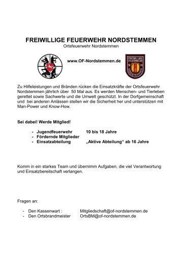 FREIWILLIGE FEUERWEHR NORDSTEMMEN - Ortsfeuerwehr ...