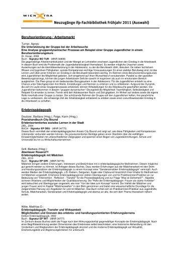 Neuzugänge Frühjahr 2011 - Institut für Freizeitpädagogik