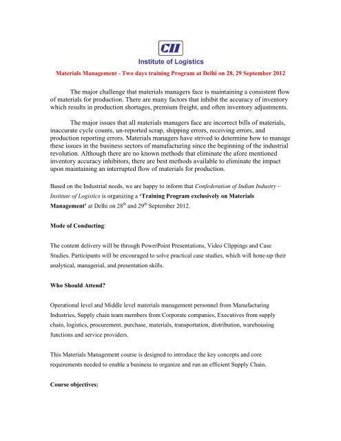 Materials Management - CII Institute of Logistics