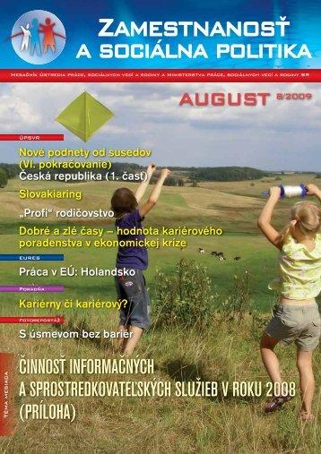 2009 08 Zamestnanost 200908 (pdf) - Ústredie práce, sociálnych ...