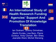 An International Study of Health Research Funding Agencies ...