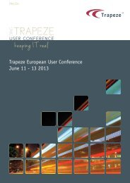 Trapeze European User Conference June 11 - 13 ... - Trapeze Group