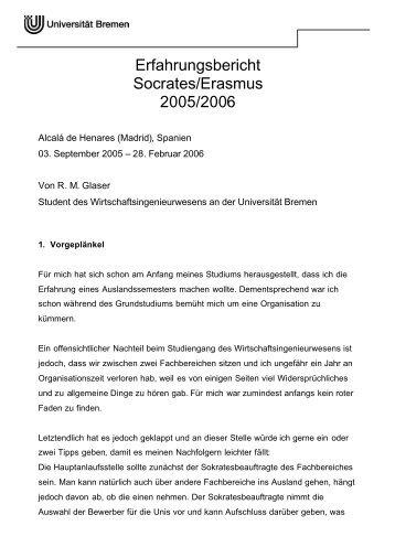 Erasmus Erfahrungsbericht - Universität Bremen