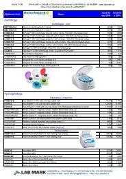 Ceník Benchmark Scientific (332,1 kB; formát PDF) - LAB MARK