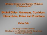 Global Cities, Gateways, Corridors: Hierarchies, Roles and Functions