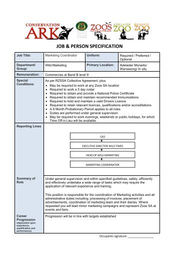 JOB & PERSON SPECIFICATION