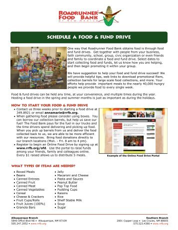 Food drives and ONLINE Food Drives - Roadrunner Food Bank