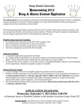 Homecoming 2012 King & Queen Contest Application - Student Affairs