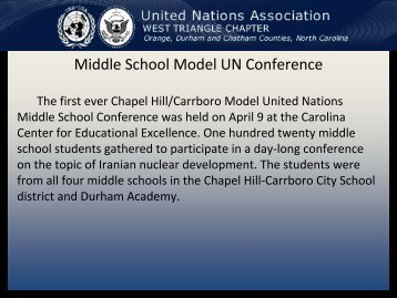 Middle School Model UN Conference - United Nations Association ...