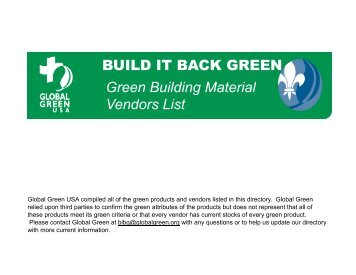 What global for Green building features checklist