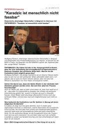 Karadzic ist menschlich nicht fassbar - Wolfgang Petritsch