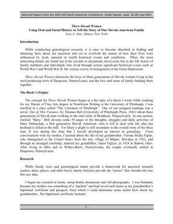 Three Slovak Women - Czechoslovak Society of Arts & Sciences ...