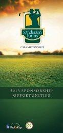 2013 SPONSORSHIP OPPORTUNITIES - PGA Tour