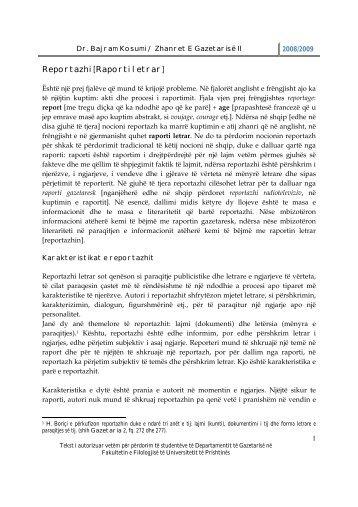 Reportazhi [Raporti letrar] - Gazetaria
