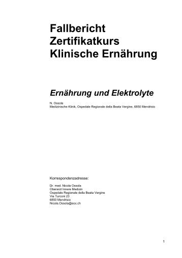 Fallbericht Zertifikatkurs Klinische Ernährung - geskes