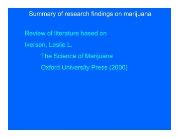Summary of research findings on marijuana Review of literature ...