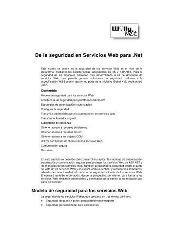 De la seguridad en Servicios Web para .Net - Willy .Net