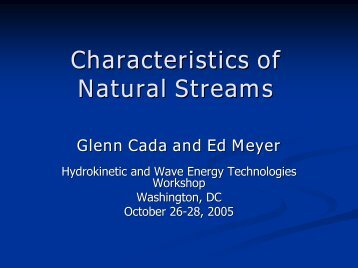 Characteristics of Natural Streams
