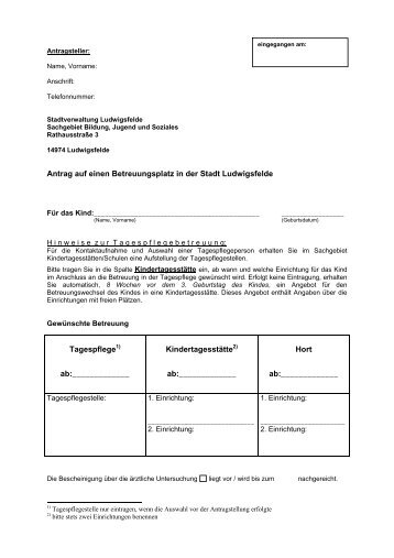 Antrag auf einen Betreuungsplatz in der Stadt Ludwigsfelde ...