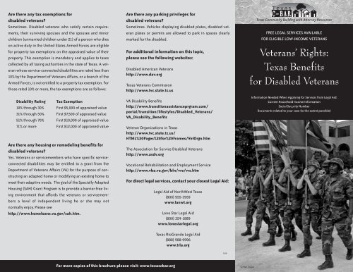 Veterans' Rights: Texas Benefits for Disabled     - State Bar of Texas