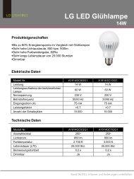 Hersteller Datenblatt LG LED Birne E27 14W, warmweiß ... - LEDS.de