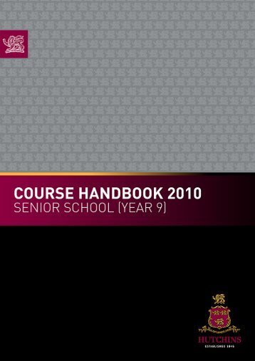 COUrSE HaNdbOOk - The Hutchins School