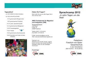 Flyer und Anmeldebogen AWO Sprachcamps Herbst 2012 Paderborn