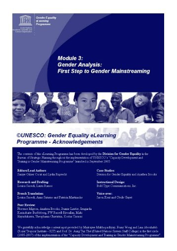 Gender Equality eLearning Module 3 - Unesco