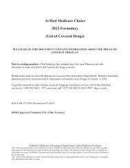 AvMed Medicare Choice 2012 Formulary (List of Covered Drugs)