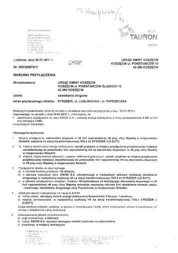 warunki przyłączenia - Baza gmin