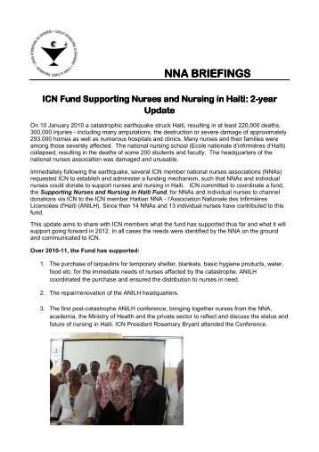 NNA BRIEFINGS ICN Fund Supporting Nurses and Nursing in ICN ...