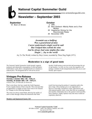 National Capital Sommelier Guild Newsletter – September 2003