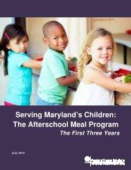Serving Maryland's Children: The Afterschool Meal Program