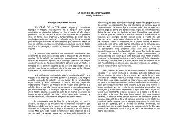 LA ESENCIA DEL CRISTIANISMO Ludwig Feuerbach Prólogo a la ...