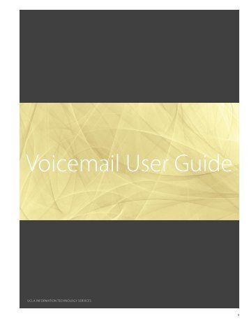 Voicemail User Guide - UCLA Communications Technology Services