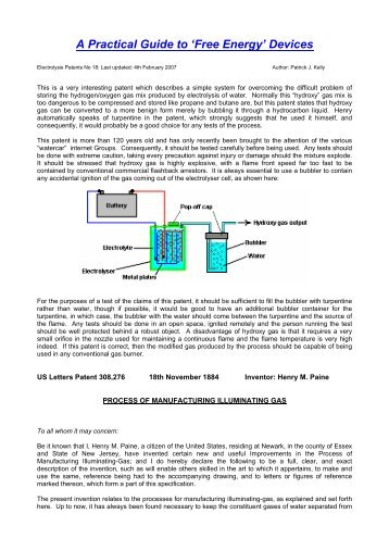 Patent - Free-Energy Devices, zero-point energy, and water