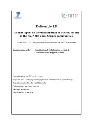 Deliverable 1.8 Annual report on the dissemination of e-Nmr results ...
