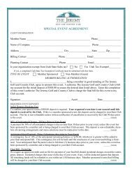 SPECIAL EVENT AGREEMENT - Jeremy Golf and Country Club