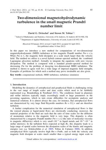magnetohydrodynamics - University of St Andrews