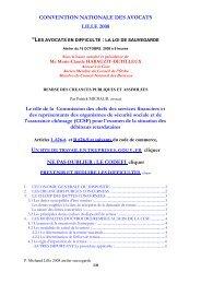 CONVENTION NATIONALE DES AVOCATS LILLE 2008 Le rôle de ...