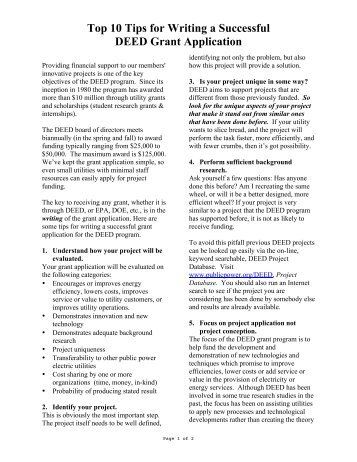 Top 10 Tips for Writing a Successful DEED Grant Application
