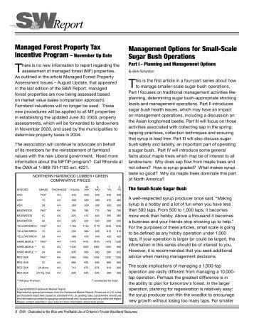 Sugar Bush Management – Planning and Management Options