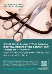 BIOETHICS, MEDICAL ETHICS & HEALTH LAW Towards the 21st ...