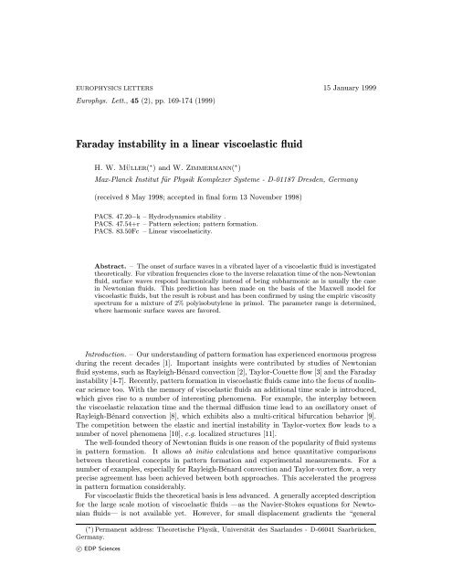 Faraday instability in a linear viscoelastic fluid - Theoretische Physik I