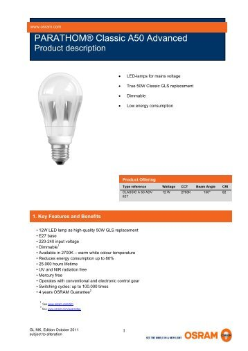 PARATHOM® Classic A50 Advanced - Osram