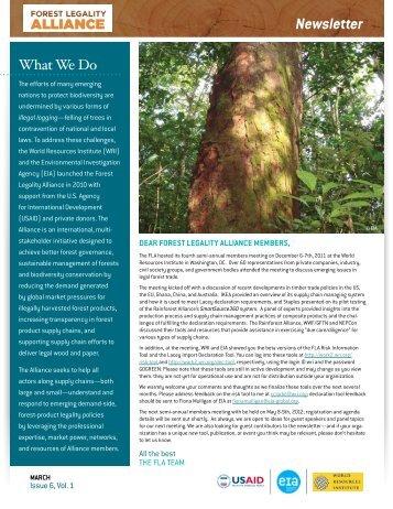 Newsletter - Forest Legality Alliance