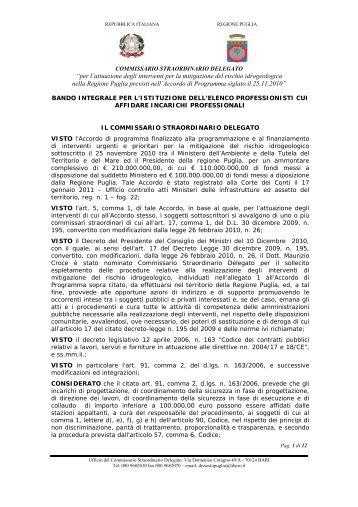 Bando - Geologi Puglia