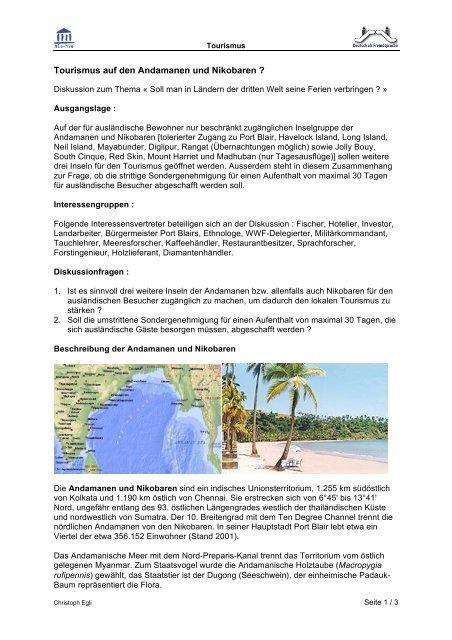 Tourismus auf den Andamanen und Nikobaren ?