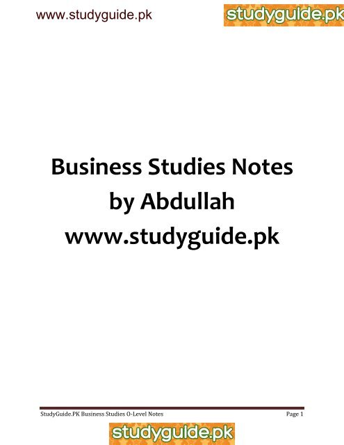 Business Studies Notes by Abdullah www studyguide pk